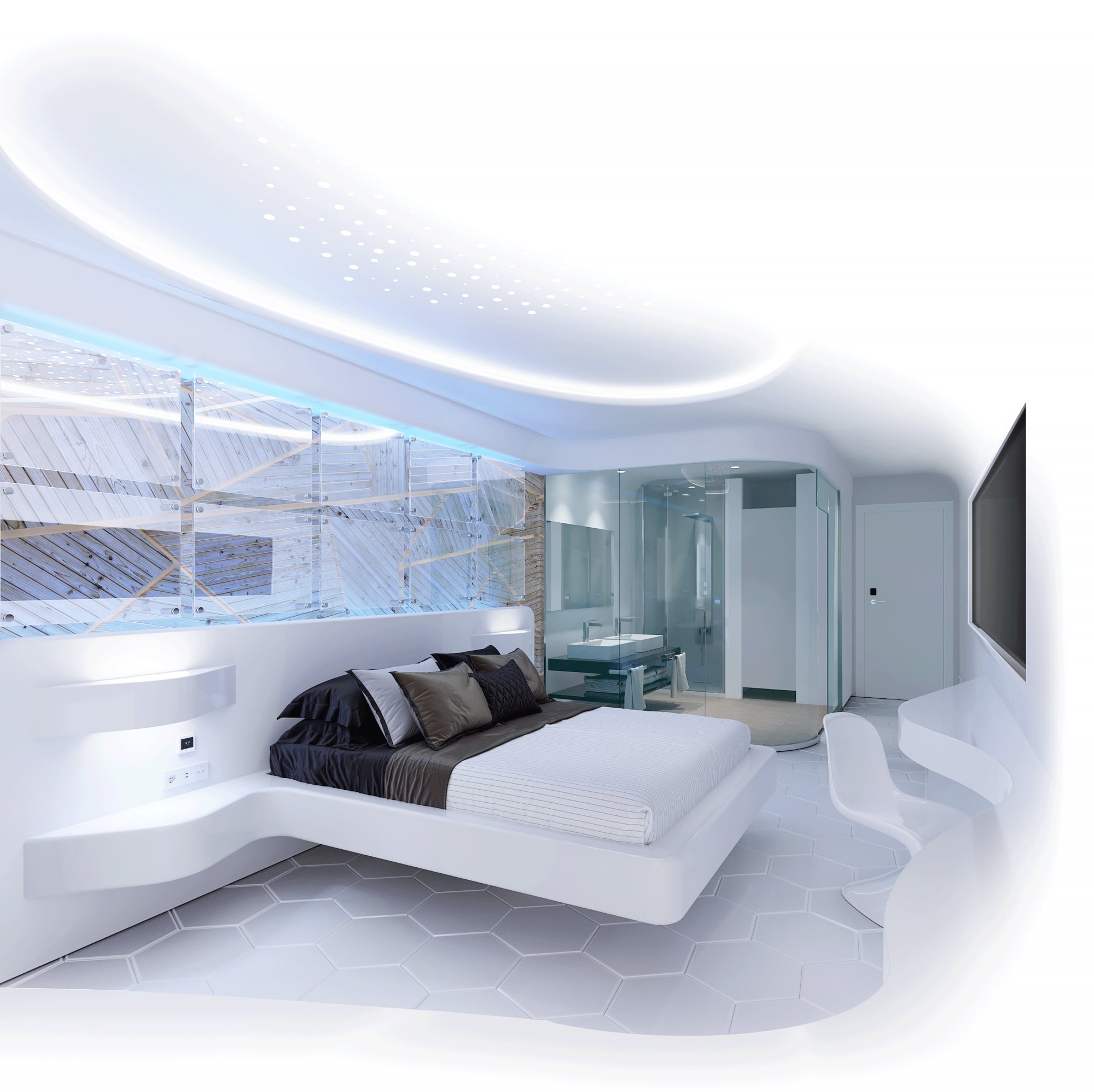 Futuristic and bright hotel room with installation of Zennio products